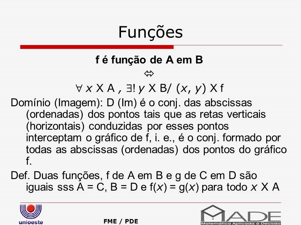 Função Composta – Função Inversa FME / PDE f: A Y B f é sobrejetora y, y X B, x, x X A/ f(x)=y f é sobrejetora Im (f) = B f: A Y B f é injetora x 1, x 1 X A, x 2, x 2 X A ( x 1 K x 2 ) => f( x 1 ) K f( x 2 ) f: A Y B f é bijetora y, y X B, .