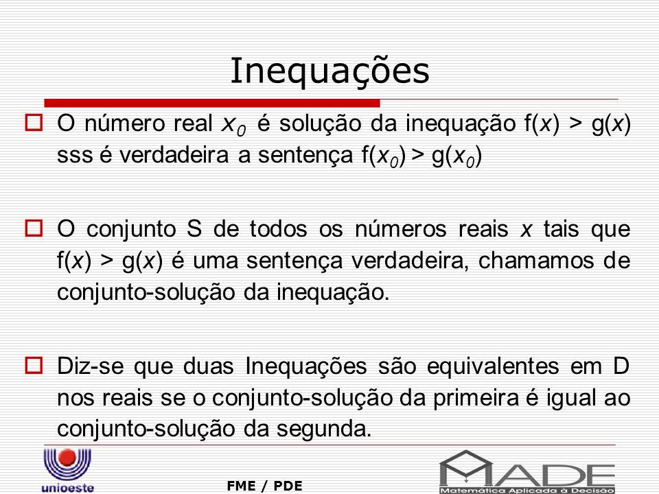 Inequações O número real x 0 é solução da inequação f(x) > g(x) sss é verdadeira a sentença f(x 0 ) > g(x 0 ) O conjunto S de todos os números reais x