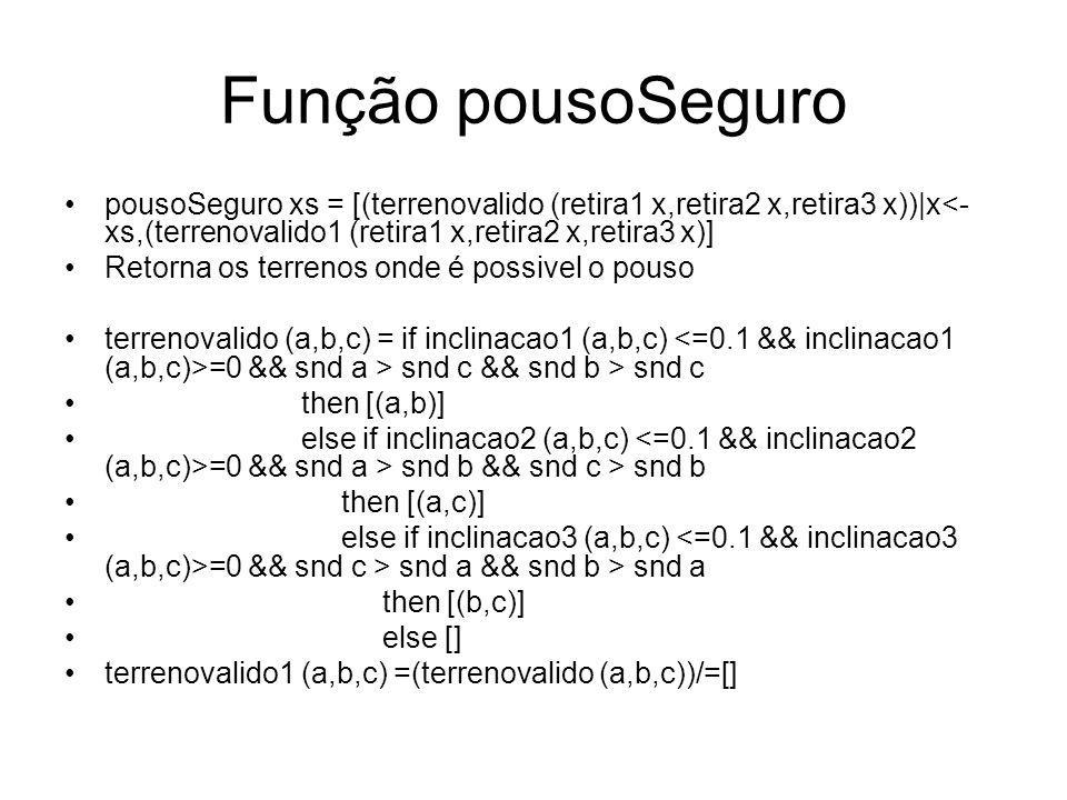Função pousoSeguro pousoSeguro xs = [(terrenovalido (retira1 x,retira2 x,retira3 x))|x<- xs,(terrenovalido1 (retira1 x,retira2 x,retira3 x)] Retorna os terrenos onde é possivel o pouso terrenovalido (a,b,c) = if inclinacao1 (a,b,c) =0 && snd a > snd c && snd b > snd c then [(a,b)] else if inclinacao2 (a,b,c) =0 && snd a > snd b && snd c > snd b then [(a,c)] else if inclinacao3 (a,b,c) =0 && snd c > snd a && snd b > snd a then [(b,c)] else [] terrenovalido1 (a,b,c) =(terrenovalido (a,b,c))/=[]