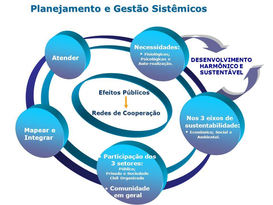 DESENVOLVIMENTO HARMÔNICO E SUSTENTÁVEL Planejamento e Gestão Sistêmicos Integração dos 3 setores; Comunidade em geral Mapear e Integrar Atender Neces