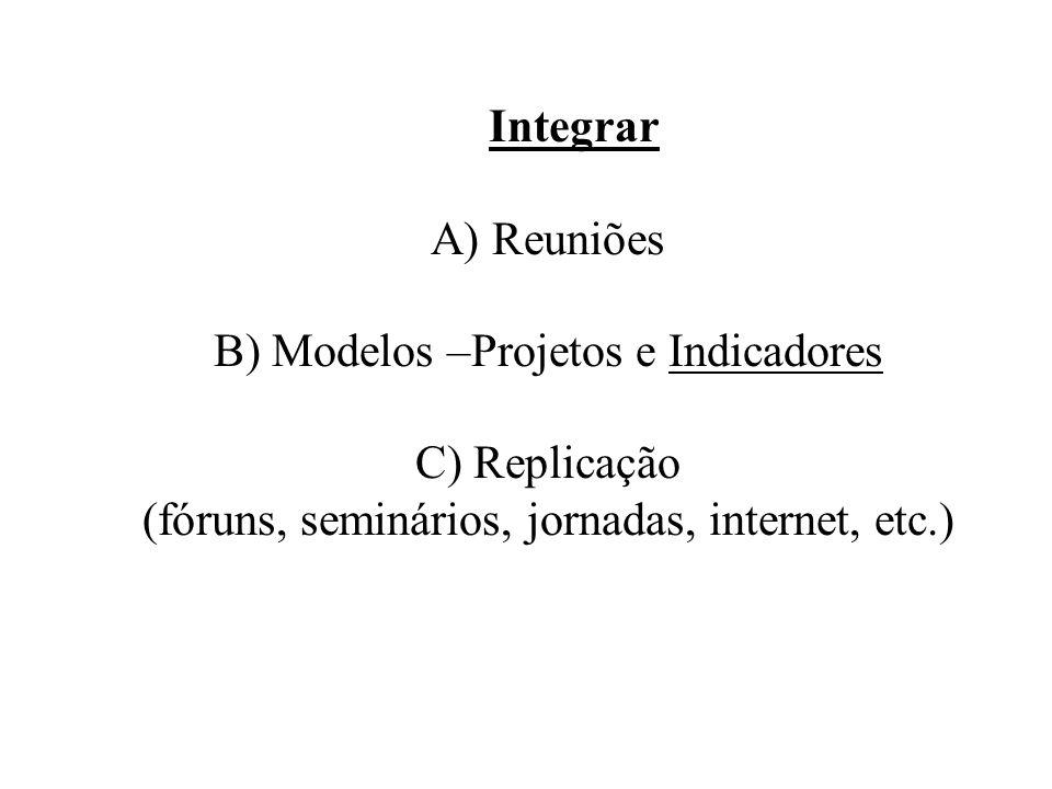 Integrar A) Reuniões B) Modelos –Projetos e Indicadores C) Replicação (fóruns, seminários, jornadas, internet, etc.)
