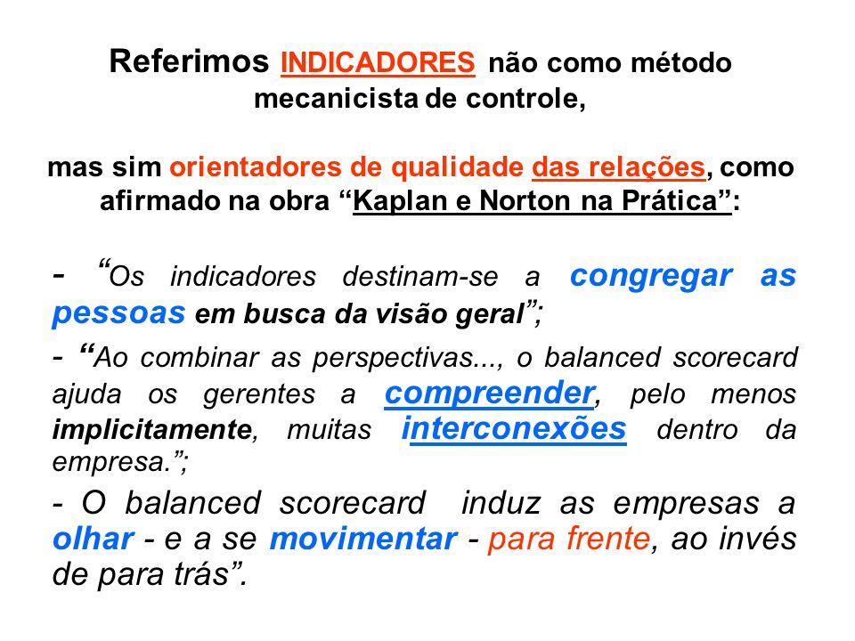Referimos INDICADORES não como método mecanicista de controle, mas sim orientadores de qualidade das relações, como afirmado na obra Kaplan e Norton n