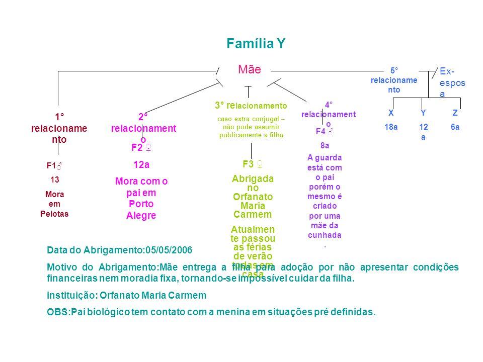 Família Y Mãe 3° re lacionamento caso extra conjugal – não pode assumir publicamente a filha F3 Abrigada no Orfanato Maria Carmem Atualmen te passou a