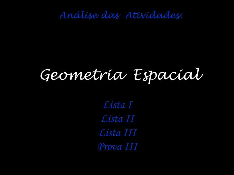 Análise das Atividades: Geometria Espacial Lista I Lista II Lista III Prova III