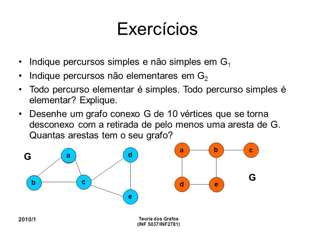 Exercícios Indique percursos simples e não simples em G 1 Indique percursos não elementares em G 2 Todo percurso elementar é simples.
