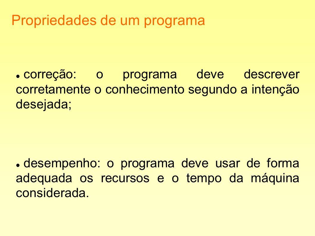 Propriedades de um programa correção: o programa deve descrever corretamente o conhecimento segundo a intenção desejada; desempenho: o programa deve u