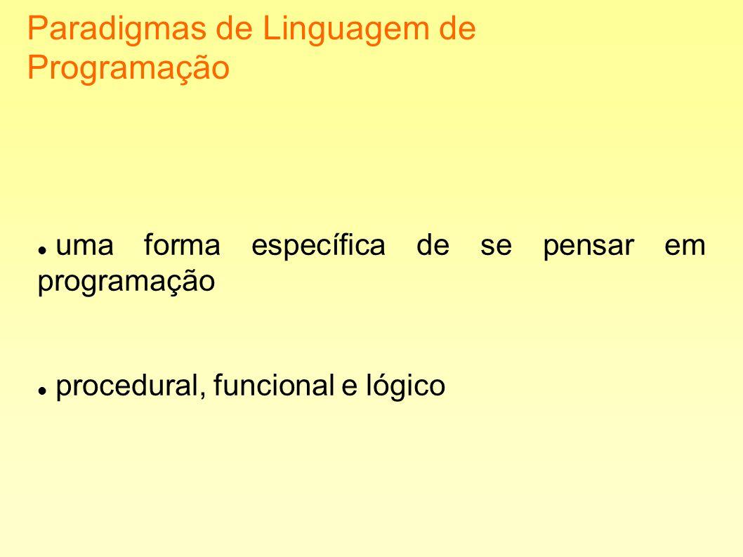 Paradigmas de Linguagem de Programação uma forma específica de se pensar em programação procedural, funcional e lógico