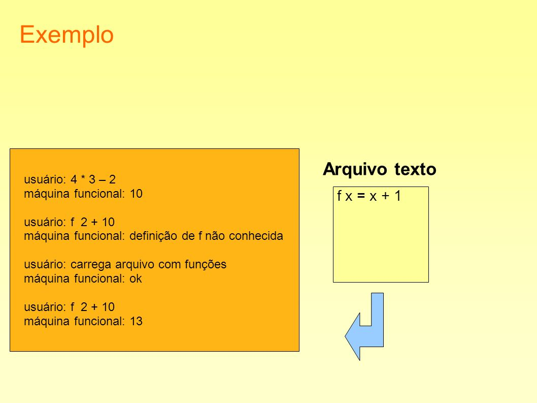 Exemplo usuário: 4 * 3 – 2 máquina funcional: 10 usuário: f 2 + 10 máquina funcional: definição de f não conhecida usuário: carrega arquivo com funçõe