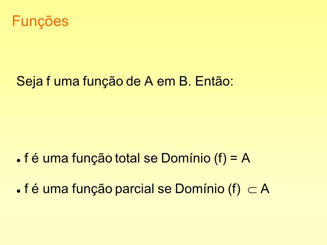Funções Seja f uma função de A em B. Então: f é uma função total se Domínio (f) = A f é uma função parcial se Domínio (f) A