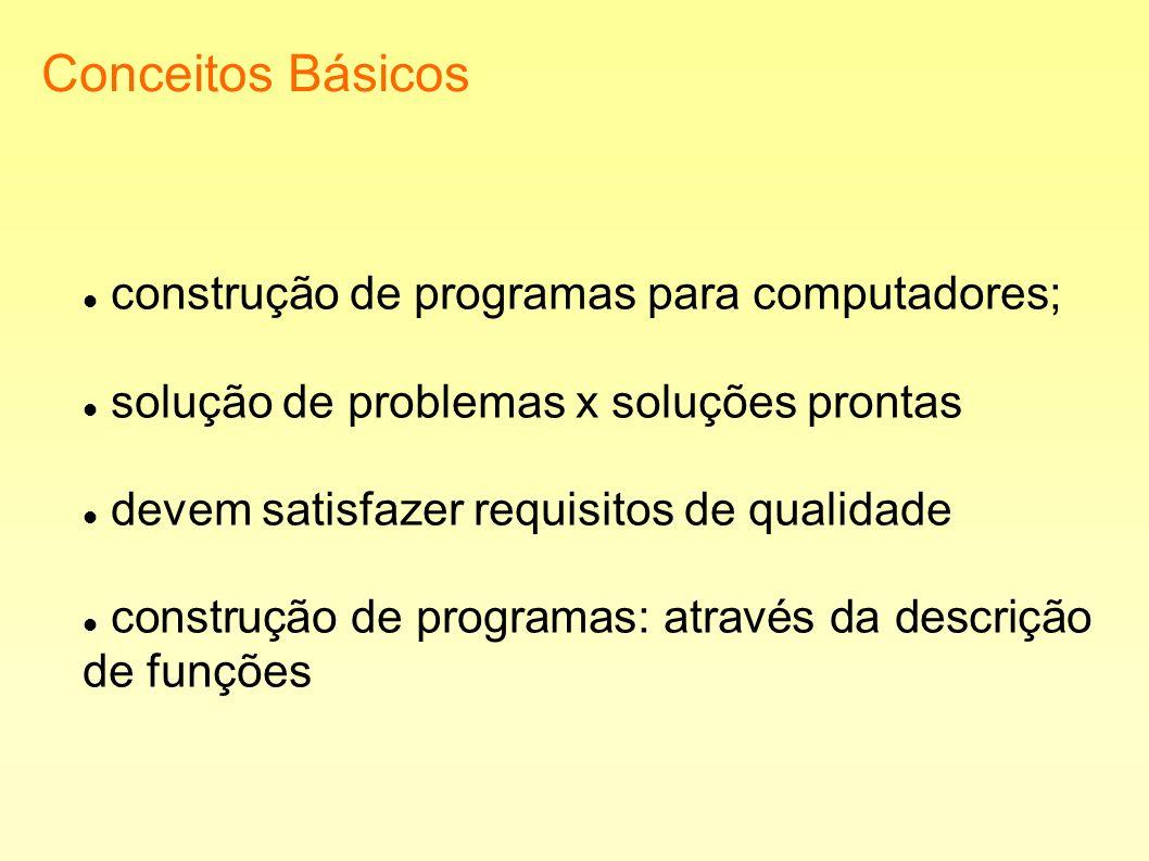 Conceitos Básicos construção de programas para computadores; solução de problemas x soluções prontas devem satisfazer requisitos de qualidade construç