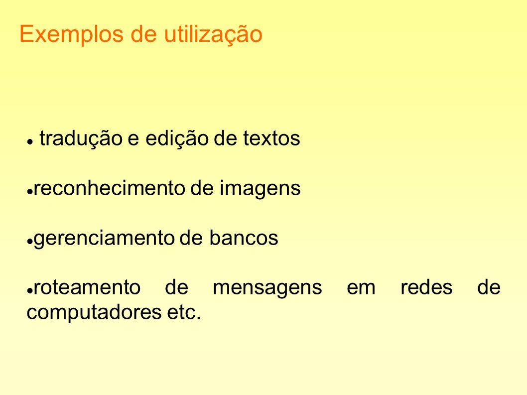 Exemplos de utilização tradução e edição de textos reconhecimento de imagens gerenciamento de bancos roteamento de mensagens em redes de computadores