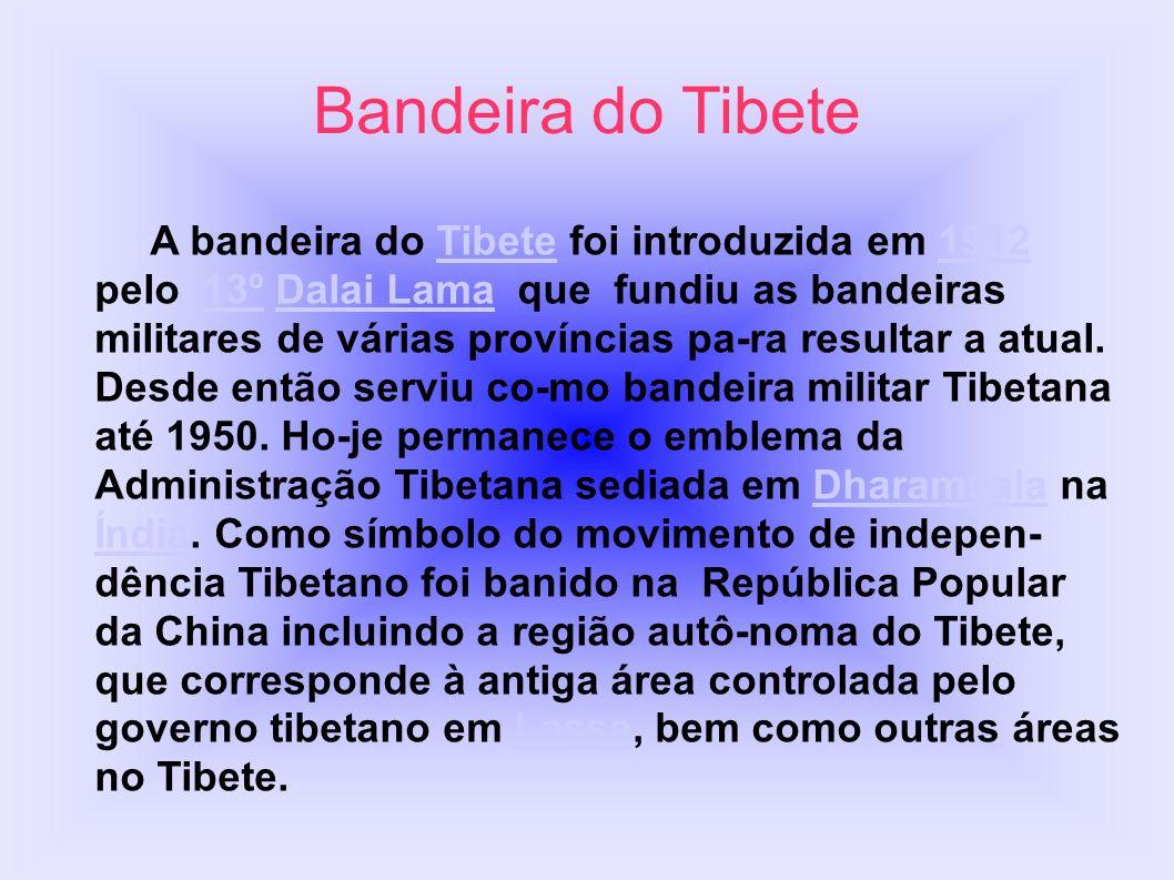 A bandeira do Tibete foi introduzida em 1912 pelo 13º Dalai Lama que fundiu as bandeiras militares de várias províncias pa-ra resultar a atual. Desde