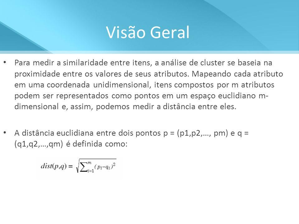 Visão Geral Para medir a similaridade entre itens, a análise de cluster se baseia na proximidade entre os valores de seus atributos. Mapeando cada atr