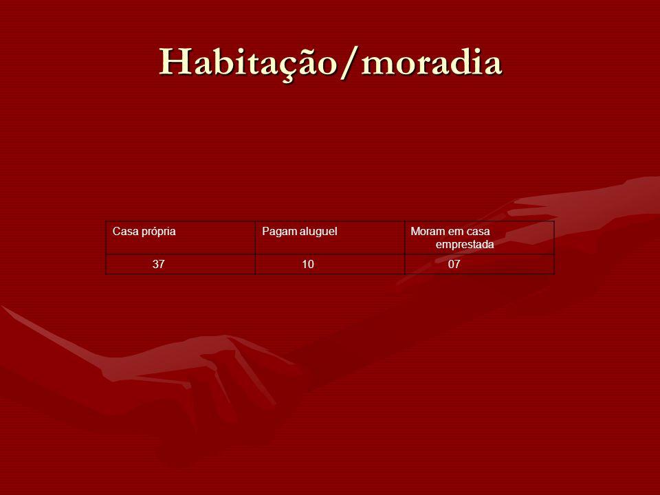 Casa própriaPagam aluguelMoram em casa emprestada 37 10 07 Habitação/moradia