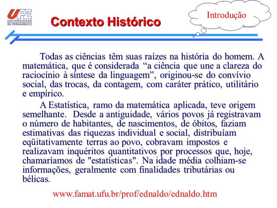 Contexto Histórico Introdução www.famat.ufu.br/prof/ednaldo/ednaldo.htm Todas as ciências têm suas raízes na história do homem. A matemática, que é co