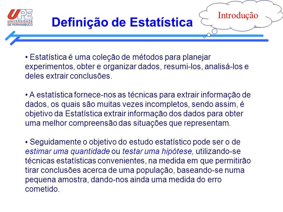 Definição de Estatística Introdução Estatística é uma coleção de métodos para planejar experimentos, obter e organizar dados, resumi-los, analisá-los