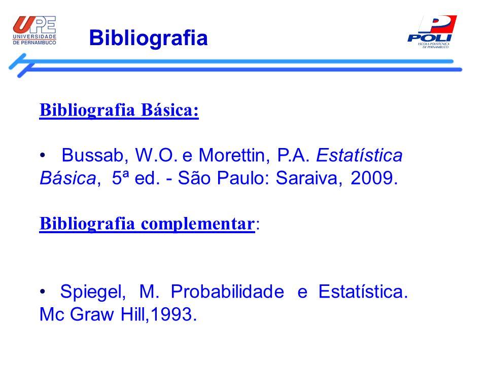 Bibliografia Bibliografia Básica: Bussab, W.O. e Morettin, P.A. Estatística Básica, 5ª ed. - São Paulo: Saraiva, 2009. Bibliografia complementar: Spie