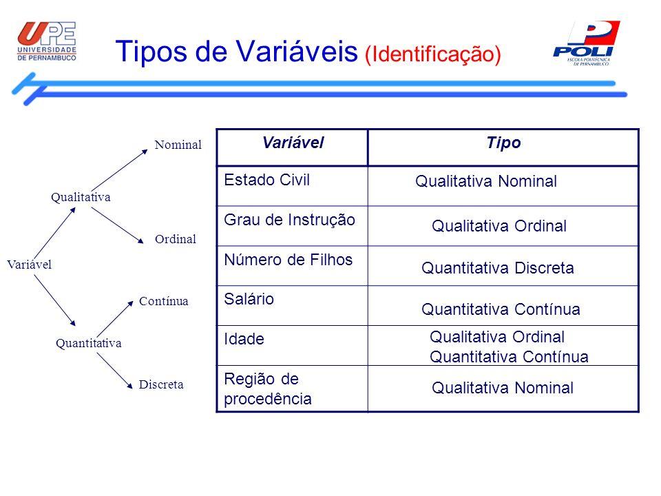 Tipos de Variáveis (Identificação) VariávelTipo Estado Civil Grau de Instrução Número de Filhos Salário Idade Região de procedência Qualitativa Nomina