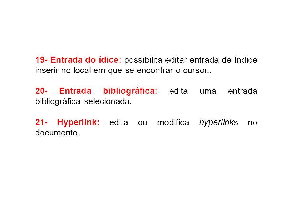 19- Entrada do ídice: possibilita editar entrada de índice inserir no local em que se encontrar o cursor.. 20- Entrada bibliográfica: edita uma entrad