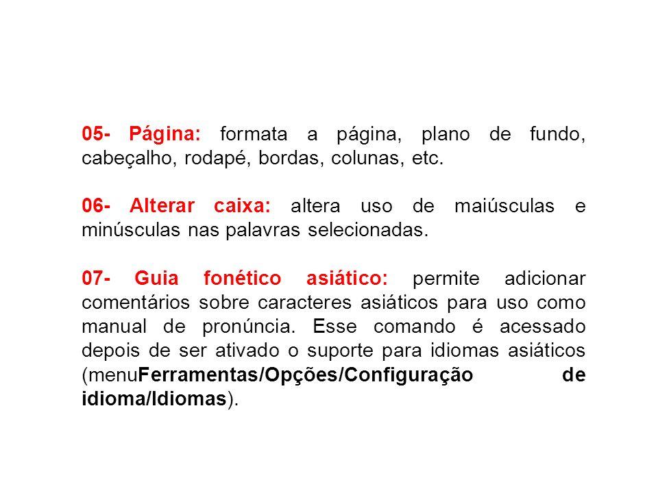 05- Página: formata a página, plano de fundo, cabeçalho, rodapé, bordas, colunas, etc. 06- Alterar caixa: altera uso de maiúsculas e minúsculas nas pa