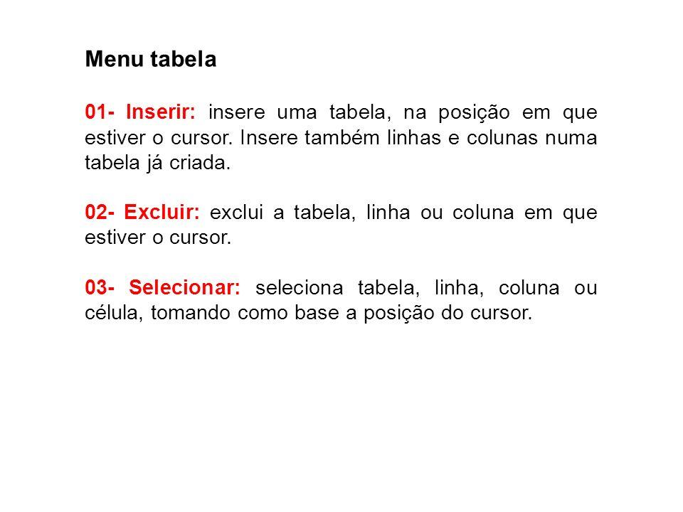 Menu tabela 01- Inserir: insere uma tabela, na posição em que estiver o cursor. Insere também linhas e colunas numa tabela já criada. 02- Excluir: exc