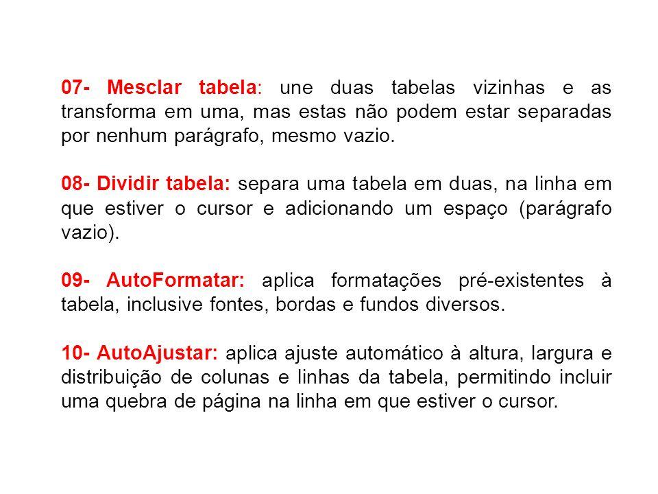 07- Mesclar tabela: une duas tabelas vizinhas e as transforma em uma, mas estas não podem estar separadas por nenhum parágrafo, mesmo vazio. 08- Divid