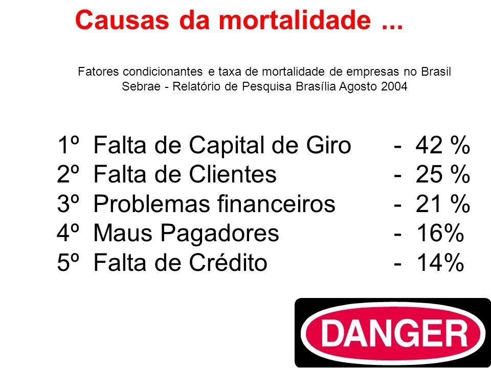 Causas da mortalidade... 1º Falta de Capital de Giro- 42 % 2º Falta de Clientes - 25 % 3º Problemas financeiros- 21 % 4º Maus Pagadores- 16% 5º Falta