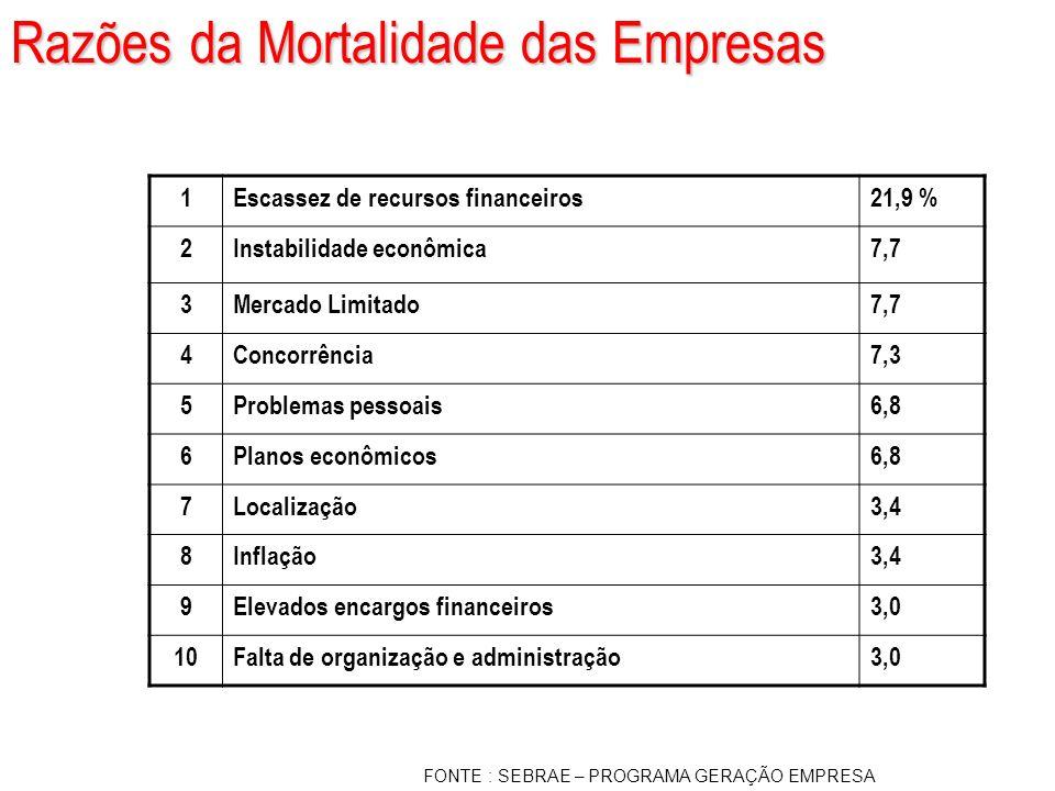 Razões da Mortalidade das Empresas 1Escassez de recursos financeiros21,9 % 2Instabilidade econômica7,7 3Mercado Limitado7,7 4Concorrência7,3 5Problema