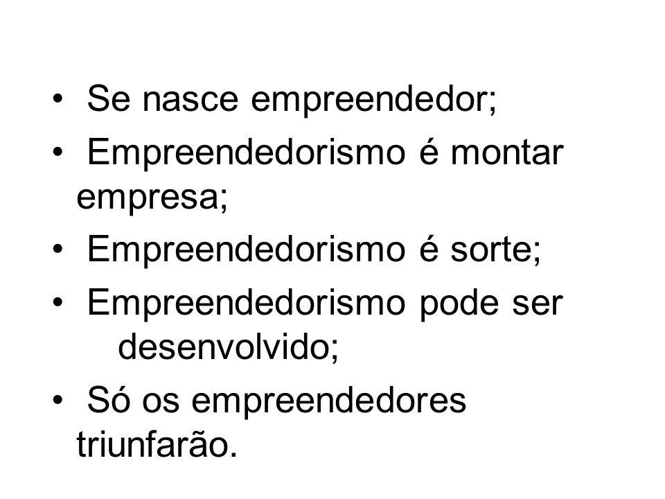 MITOS / VERDADES Se nasce empreendedor; Empreendedorismo é montar empresa; Empreendedorismo é sorte; Empreendedorismo pode ser desenvolvido; Só os emp