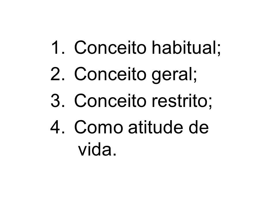 Empreendedorismo - definições 1. Conceito habitual; 2. Conceito geral; 3. Conceito restrito; 4. Como atitude de vida.