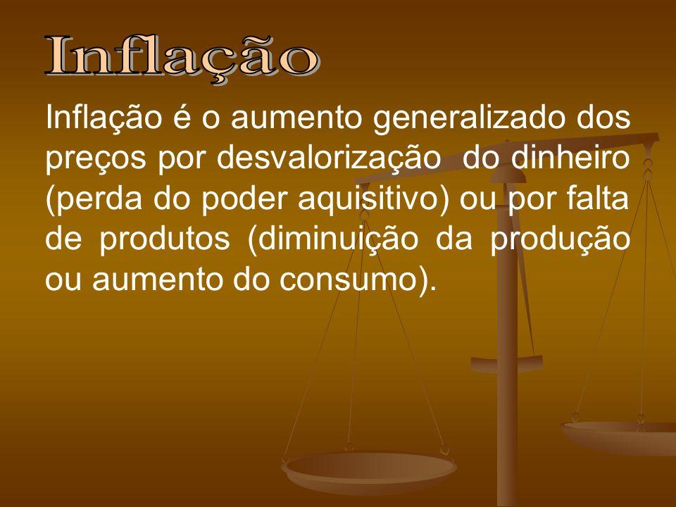 Inflação é o aumento generalizado dos preços por desvalorização do dinheiro (perda do poder aquisitivo) ou por falta de produtos (diminuição da produç