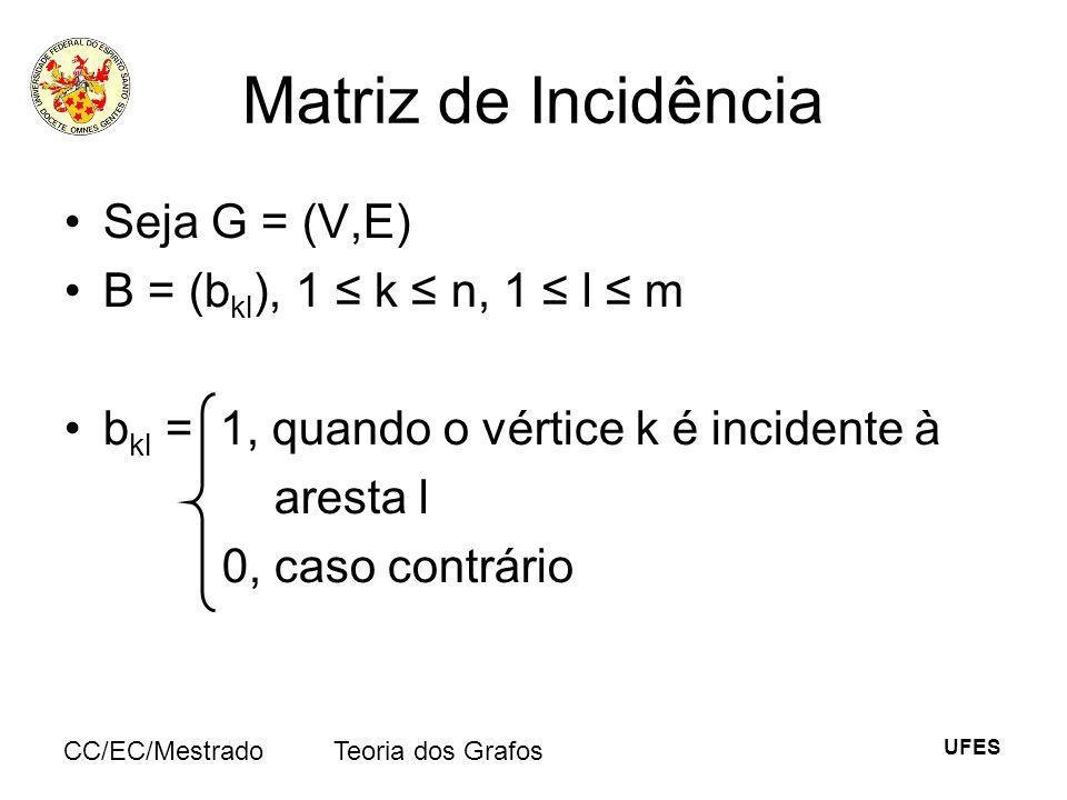 UFES CC/EC/MestradoTeoria dos Grafos Matriz de Incidência Seja G = (V,E) B = (b kl ), 1 k n, 1 l m b kl = 1, quando o vértice k é incidente à aresta l