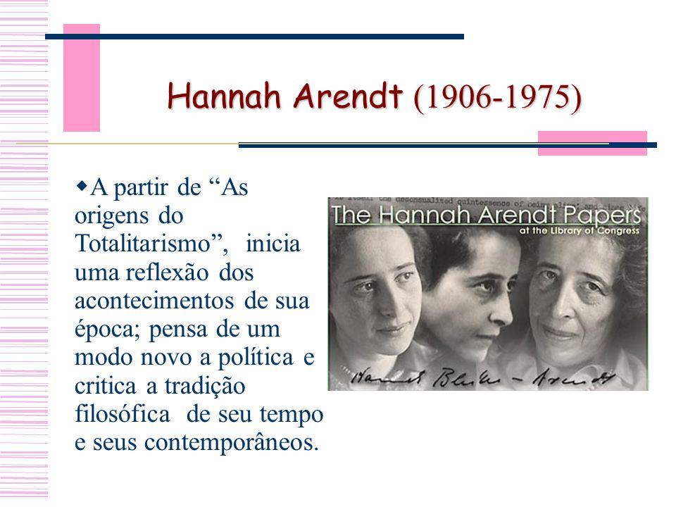 Hannah Arendt (1906-1975) A partir de As origens do Totalitarismo, inicia uma reflexão dos acontecimentos de sua época; pensa de um modo novo a política e critica a tradição filosófica de seu tempo e seus contemporâneos.