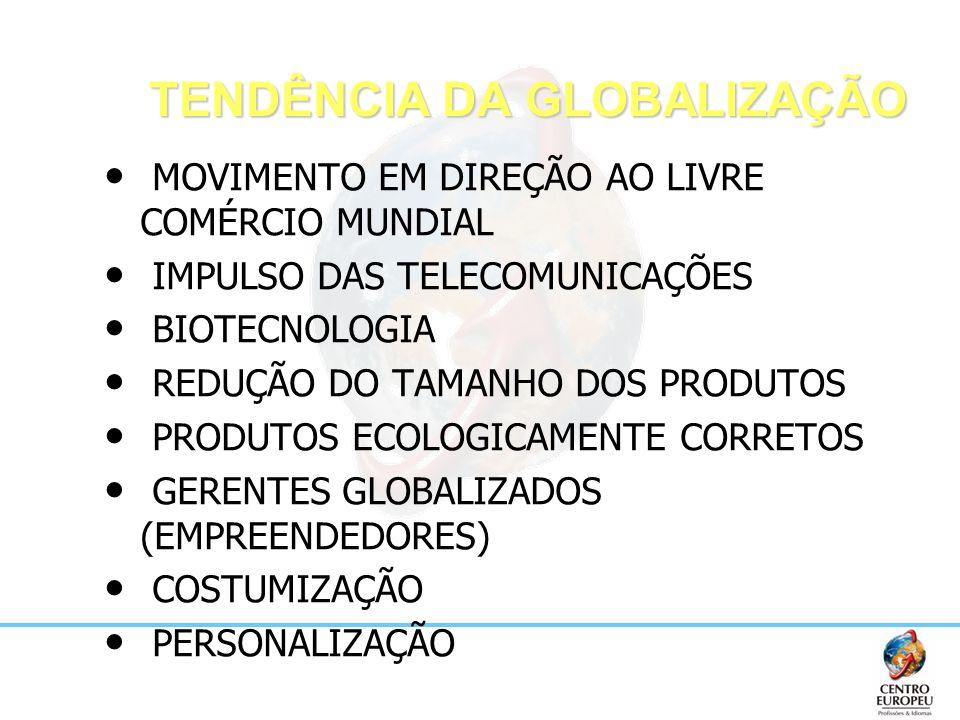 TENDÊNCIA DA GLOBALIZAÇÃO MOVIMENTO EM DIREÇÃO AO LIVRE COMÉRCIO MUNDIAL IMPULSO DAS TELECOMUNICAÇÕES BIOTECNOLOGIA REDUÇÃO DO TAMANHO DOS PRODUTOS PR