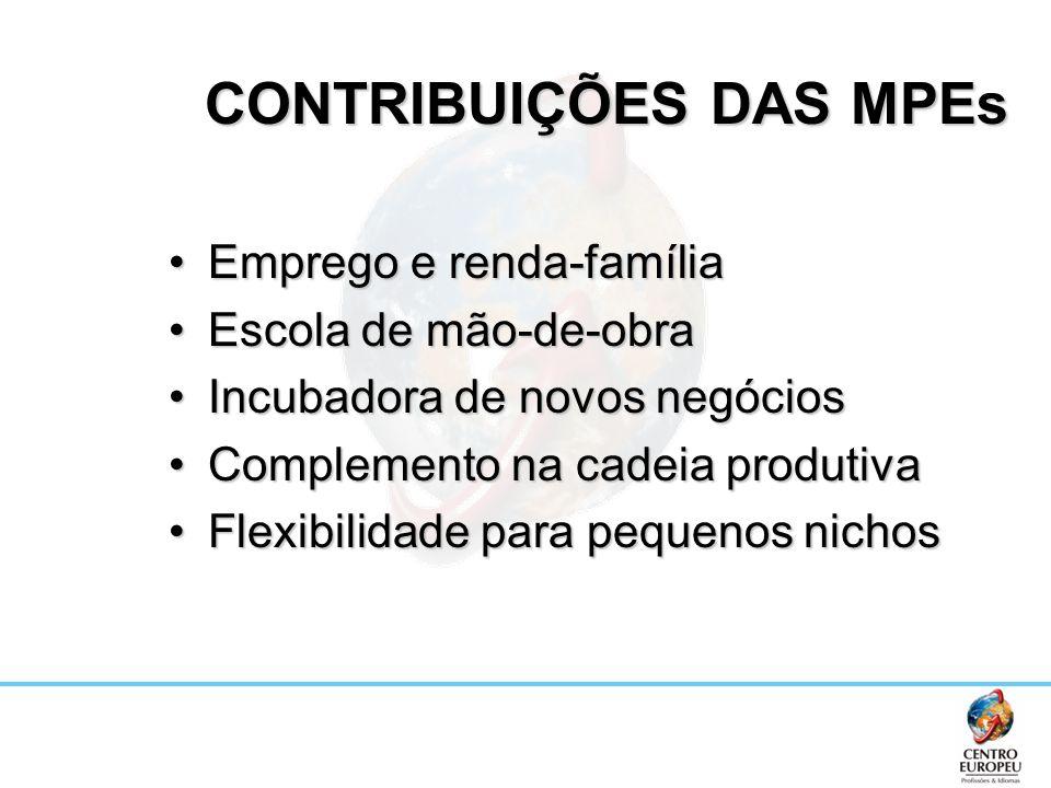 CONTRIBUIÇÕES DAS MPEs CONTRIBUIÇÕES DAS MPEs Emprego e renda-famíliaEmprego e renda-família Escola de mão-de-obraEscola de mão-de-obra Incubadora de
