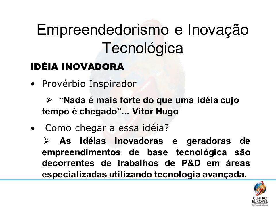 Empreendedorismo e Inovação Tecnológica IDÉIA INOVADORA Provérbio Inspirador Nada é mais forte do que uma idéia cujo tempo é chegado... Vítor Hugo Com
