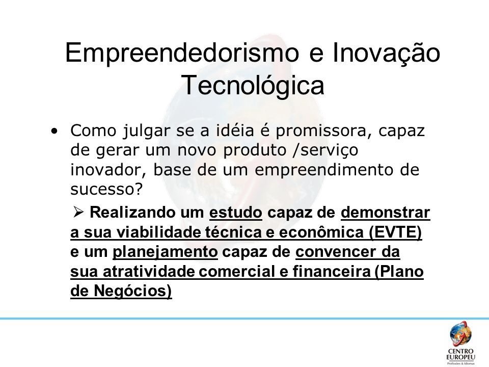 Empreendedorismo e Inovação Tecnológica Como julgar se a idéia é promissora, capaz de gerar um novo produto /serviço inovador, base de um empreendimen