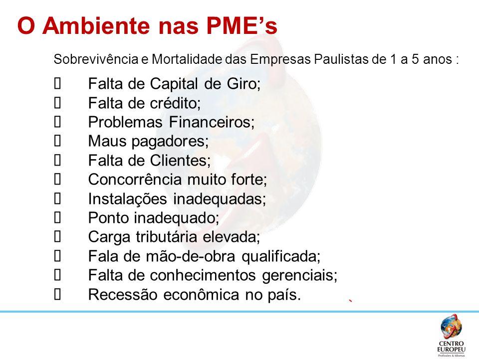 O Ambiente nas PMEs Sobrevivência e Mortalidade das Empresas Paulistas de 1 a 5 anos : Falta de Capital de Giro; Falta de crédito; Problemas Financeir