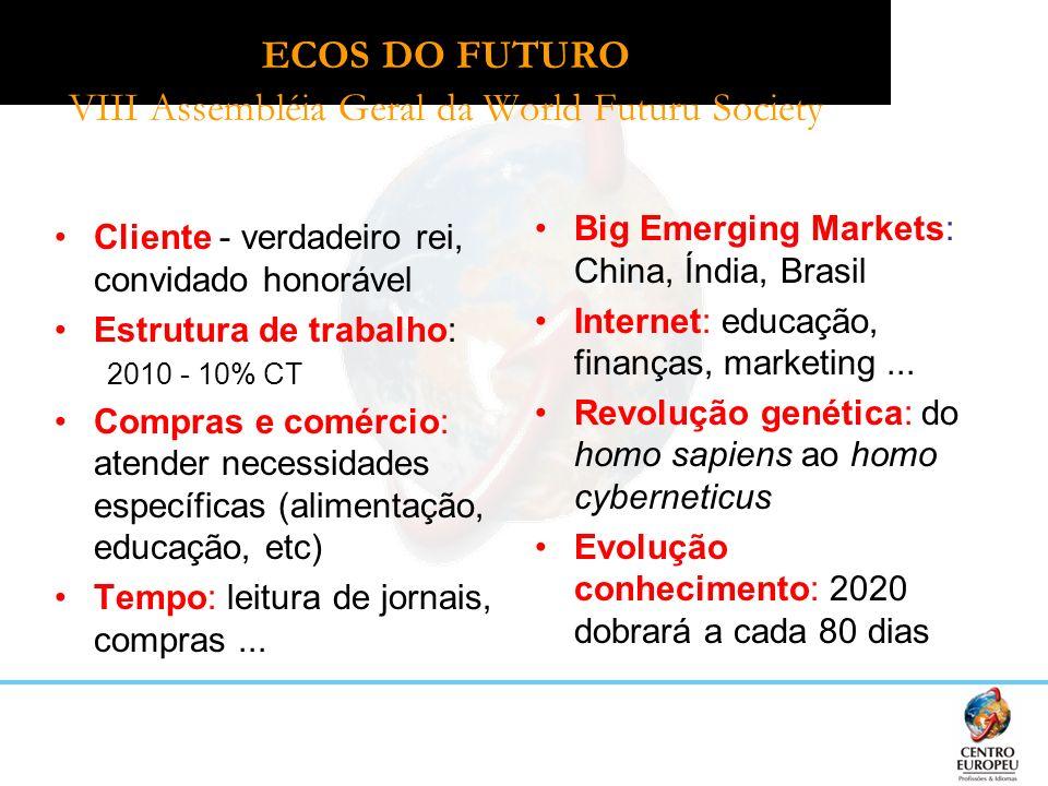 ECOS DO FUTURO VIII Assembléia Geral da World Futuru Society Cliente - verdadeiro rei, convidado honorável Estrutura de trabalho: 2010 - 10% CT Compra