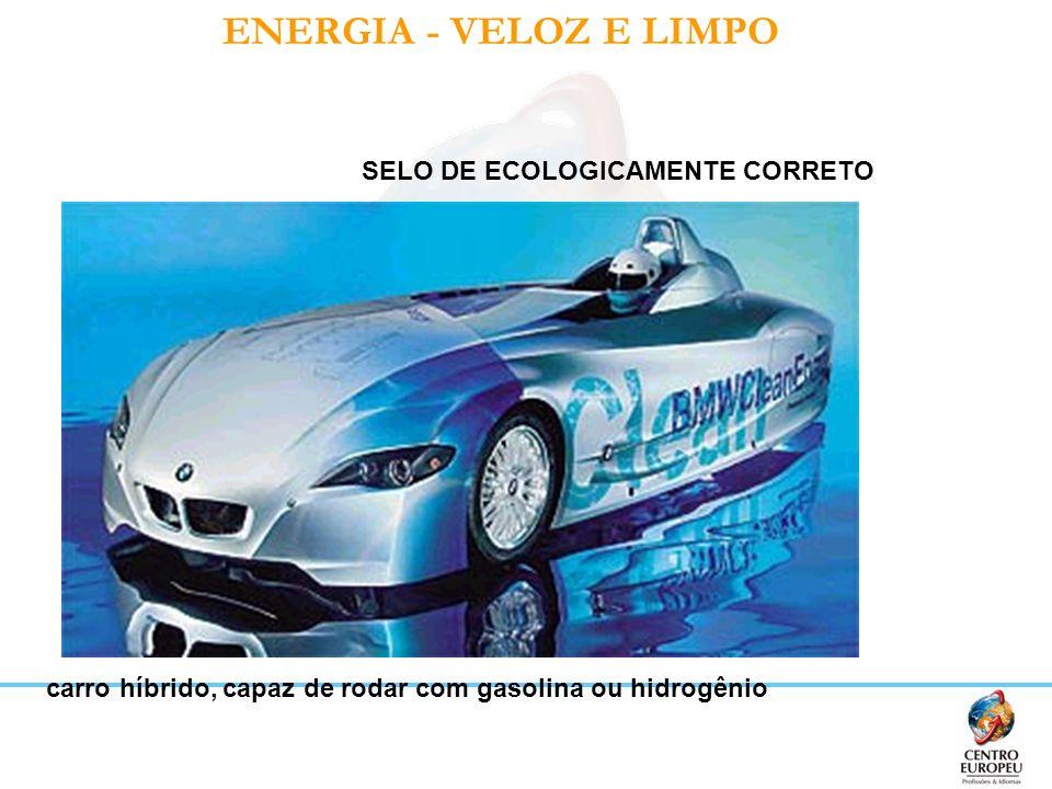 ENERGIA - VELOZ E LIMPO SELO DE ECOLOGICAMENTE CORRETO carro híbrido, capaz de rodar com gasolina ou hidrogênio