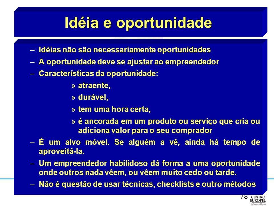 78 Idéia e oportunidade –Idéias não são necessariamente oportunidades –A oportunidade deve se ajustar ao empreendedor –Características da oportunidade