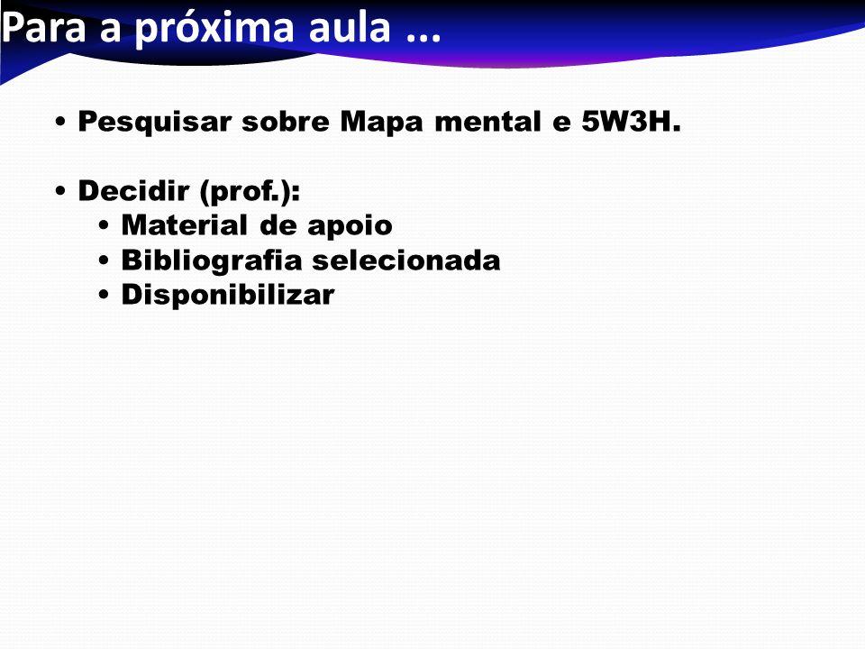 Para a próxima aula... Pesquisar sobre Mapa mental e 5W3H. Decidir (prof.): Material de apoio Bibliografia selecionada Disponibilizar