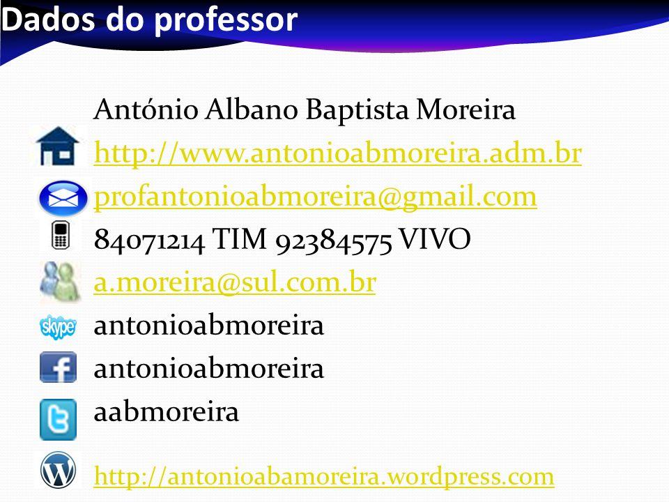 Dados do professor António Albano Baptista Moreira http://www.antonioabmoreira.adm.br profantonioabmoreira@gmail.com 84071214 TIM 92384575 VIVO a.more