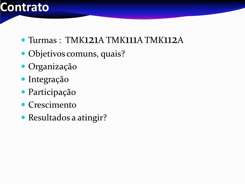 Contrato Turmas : TMK 121 A TMK 111 A TMK 112 A Objetivos comuns, quais? Organização Integração Participação Crescimento Resultados a atingir?