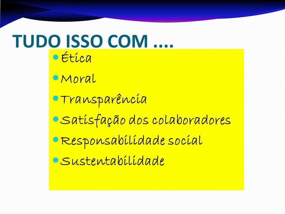 TUDO ISSO COM.... Ética Moral Transparência Satisfação dos colaboradores Responsabilidade social Sustentabilidade