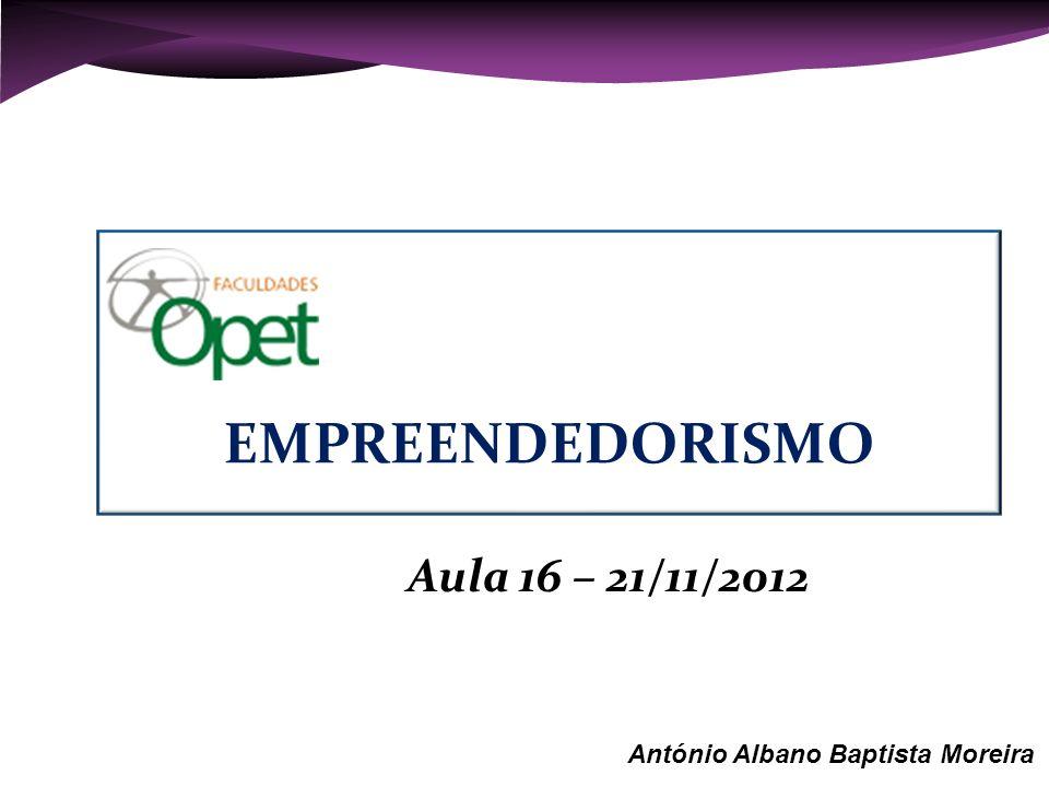 Aula 16 – 21/11/2012 António Albano Baptista Moreira EMPREENDEDORISMO