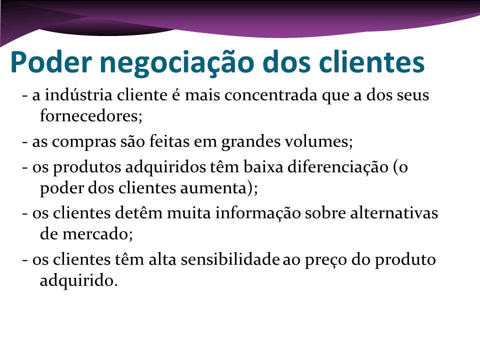 Poder negociação dos clientes - a indústria cliente é mais concentrada que a dos seus fornecedores; - as compras são feitas em grandes volumes; - os p