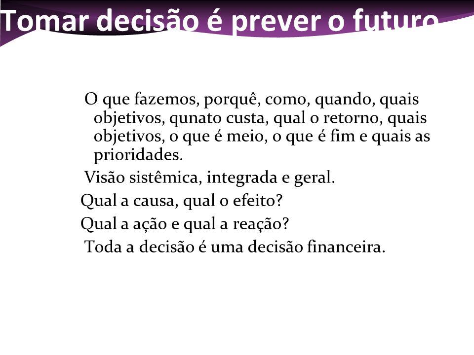 Tomar decisão é prever o futuro O que fazemos, porquê, como, quando, quais objetivos, qunato custa, qual o retorno, quais objetivos, o que é meio, o q
