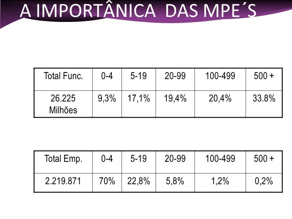 A IMPORTÂNICA DAS MPE´S Total Func.0-45-1920-99100-499500 + 26.225 Milhões 9,3%17,1%19,4%20,4%33.8% Dados de 2.000 fonte - RAIS Em número de Funcionár