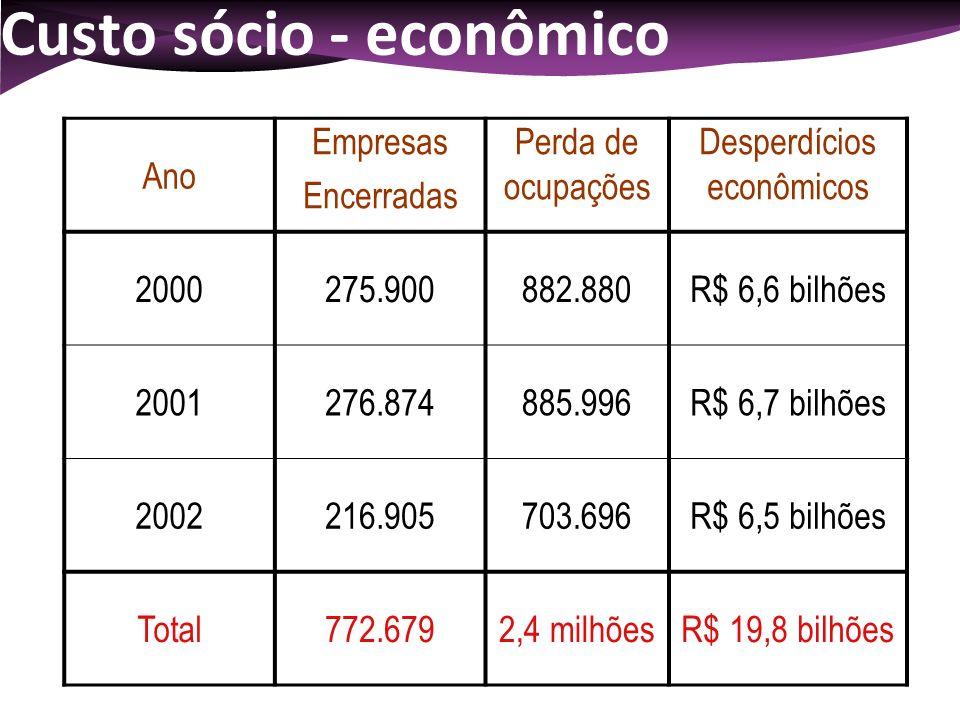 Custo sócio - econômico Ano Empresas Encerradas Perda de ocupações Desperdícios econômicos 2000275.900882.880R$ 6,6 bilhões 2001276.874885.996R$ 6,7 b